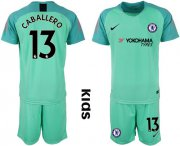 Wholesale Cheap Chelsea #13 Caballero Green Goalkeeper Kid Soccer Club Jersey