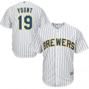 Wholesale Cheap Brewers #19 Robin Yount White Strip Cool Base Stitched Youth MLB Jersey