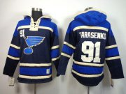 Wholesale Cheap Blues #91 Vladimir Tarasenko Navy Blue Sawyer Hooded Sweatshirt Stitched NHL Jersey