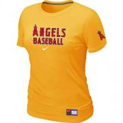 Wholesale Cheap Women's Los Angeles Angels Nike Short Sleeve Practice MLB T-Shirt Yellow