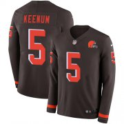 Wholesale Cheap Nike Browns #5 Case Keenum Brown Team Color Youth Stitched NFL Limited Therma Long Sleeve Jersey