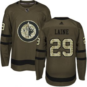 Wholesale Cheap Adidas Jets #29 Patrik Laine Green Salute to Service Stitched Youth NHL Jersey