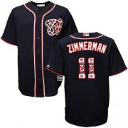 Wholesale Cheap Nationals #11 Ryan Zimmerman Navy Blue Team Logo Fashion Stitched MLB Jersey