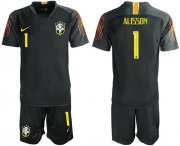 Wholesale Cheap Brazil #1 Alisson Black Goalkeeper Soccer Country Jersey