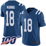 Wholesale Cheap Nike Colts #18 Peyton Manning Royal Blue Team Color Men's Stitched NFL 100th Season Vapor Limited Jersey
