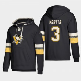Wholesale Cheap Pittsburgh Penguins #3 Olli Maatta Black adidas Lace-Up Pullover Hoodie
