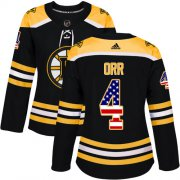 Wholesale Cheap Adidas Bruins #4 Bobby Orr Black Home Authentic USA Flag Women's Stitched NHL Jersey