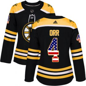 Wholesale Cheap Adidas Bruins #4 Bobby Orr Black Home Authentic USA Flag Women\'s Stitched NHL Jersey