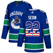 Wholesale Cheap Adidas Canucks #22 Daniel Sedin Blue Home Authentic USA Flag Youth Stitched NHL Jersey