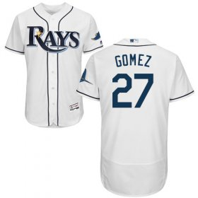 Wholesale Cheap Rays #27 Carlos Gomez White Flexbase Authentic Collection Stitched MLB Jersey