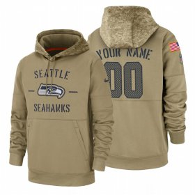 Wholesale Cheap Seattle Seahawks Custom Nike Tan 2019 Salute To Service Name & Number Sideline Therma Pullover Hoodie