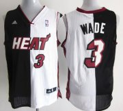 Wholesale Cheap Miami Heat #3 Dwyane Wade Revolution 30 Swingman Black/White Two Tone Jersey
