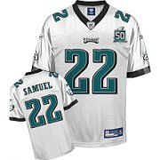 Wholesale Cheap Eagles Asante Samuel #22 White Stitched Team 50TH Anniversary Patch NFL Jersey