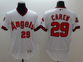 Wholesale Cheap Angels of Anaheim #29 Rod Carew White Flexbase Authentic Collection Cooperstown Stitched MLB Jersey