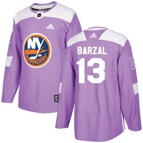 Wholesale Cheap Adidas Islanders #13 Mathew Barzal Purple Authentic Fights Cancer Stitched Youth NHL Jersey