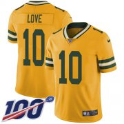 Wholesale Cheap Nike Packers #10 Jordan Love Yellow Youth Stitched NFL Limited Rush 100th Season Jersey