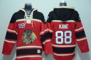 Wholesale Cheap Blackhawks #88 Patrick Kane Red Sawyer Hooded Sweatshirt Stitched NHL Jersey