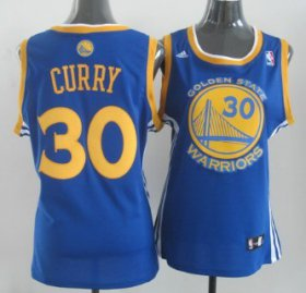 Wholesale Cheap Golden State Warriors #30 Stephen Curry Blue Womens Jersey