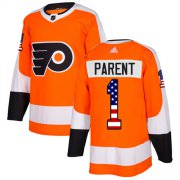 Wholesale Cheap Adidas Flyers #1 Bernie Parent Orange Home Authentic USA Flag Stitched Youth NHL Jersey