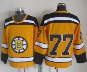 Wholesale Cheap Bruins #77 Ray Bourque Yellow CCM Throwback Stitched NHL Jersey