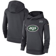 Wholesale Cheap Women's New York Jets Nike Anthracite Crucial Catch Performance Pullover Hoodie
