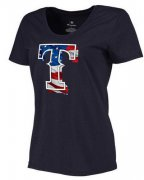 Wholesale Cheap Women's Texas Rangers USA Flag Fashion T-Shirt Navy Blue