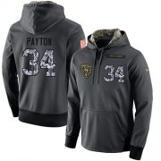 Wholesale Cheap NFL Men's Nike Chicago Bears #34 Walter Payton Stitched Black Anthracite Salute to Service Player Performance Hoodie