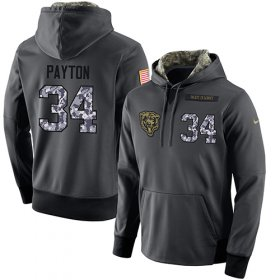 Wholesale Cheap NFL Men\'s Nike Chicago Bears #34 Walter Payton Stitched Black Anthracite Salute to Service Player Performance Hoodie