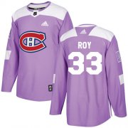 Wholesale Cheap Adidas Canadiens #33 Patrick Roy Purple Authentic Fights Cancer Stitched Youth NHL Jersey