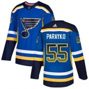 Wholesale Cheap Adidas Blues #55 Colton Parayko Blue Home Authentic Drift Fashion Stitched NHL Jersey