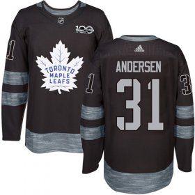 Wholesale Cheap Adidas Maple Leafs #31 Frederik Andersen Black 1917-2017 100th Anniversary Stitched NHL Jersey