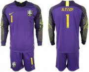 Wholesale Cheap Brazil #1 Alisson Purple Goalkeeper Long Sleeves Soccer Country Jersey