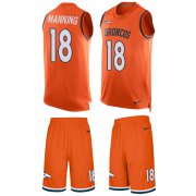 Wholesale Cheap Nike Broncos #18 Peyton Manning Orange Team Color Men's Stitched NFL Limited Tank Top Suit Jersey
