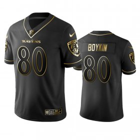 Wholesale Cheap Nike Ravens #80 Miles Boykin Black Golden Limited Edition Stitched NFL Jersey