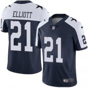 Wholesale Cheap Nike Cowboys #21 Ezekiel Elliott Navy Blue Thanksgiving Men's Stitched NFL Vapor Untouchable Limited Throwback Jersey