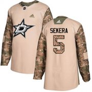 Wholesale Cheap Adidas Stars #5 Andrej Sekera Camo Authentic 2017 Veterans Day Stitched NHL Jersey