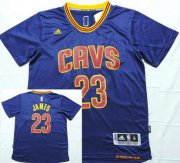 Wholesale Cheap Men's Cleveland Cavaliers #23 LeBron James Revolution 30 Swingman 2014 New Navy Blue Short-Sleeved Jersey