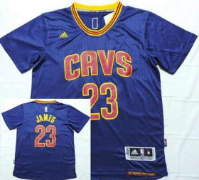 Wholesale Cheap Men\'s Cleveland Cavaliers #23 LeBron James Revolution 30 Swingman 2014 New Navy Blue Short-Sleeved Jersey