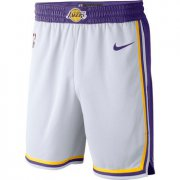 Wholesale Cheap Men's Los Angeles Lakers White 2019 Nike Swingman Stitched NBA Shorts