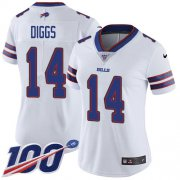 Wholesale Cheap Nike Bills #14 Stefon Diggs White Women's Stitched NFL 100th Season Vapor Untouchable Limited Jersey
