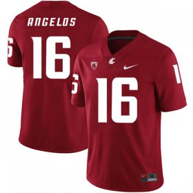 Wholesale Cheap Washington State Cougars 16 Aaron Angelos Red College Football Jersey