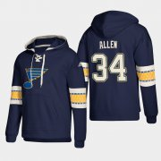 Wholesale Cheap St. Louis Blues #34 Jake Allen Blue adidas Lace-Up Pullover Hoodie
