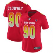 Wholesale Cheap Nike Texans #90 Jadeveon Clowney Red Women's Stitched NFL Limited AFC 2018 Pro Bowl Jersey