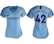 Wholesale Cheap Women's Manchester City #42 Toure Yaya Home Soccer Club Jersey