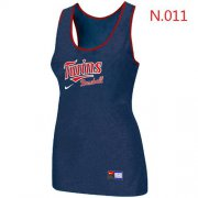 Wholesale Cheap Women's Nike Minnesota Twins Tri-Blend Racerback Stretch Tank Top Blue