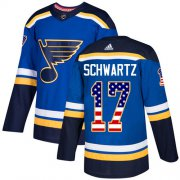 Wholesale Cheap Adidas Blues #17 Jaden Schwartz Blue Home Authentic USA Flag Stitched NHL Jersey