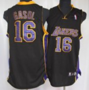 Wholesale Cheap Los Angeles Lakers #16 Paul Gaslo Black With Purple Swingman Jersey