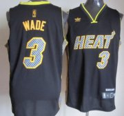 Wholesale Cheap Miami Heat #3 Dwyane Wade Black Electricity Fashion Jersey