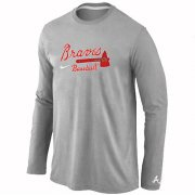 Wholesale Cheap Atlanta Braves Long Sleeve MLB T-Shirt Grey