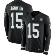 Wholesale Cheap Nike Raiders #15 Nelson Agholor Black Team Color Men's Stitched NFL Limited Therma Long Sleeve Jersey